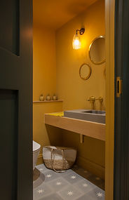 mustard bathroom