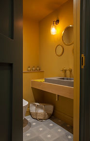 mustard bathroom