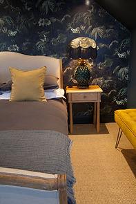 bedroom. blue & mustard