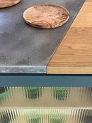 kitchen top. ribbed glass