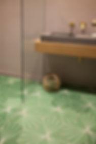 green tiled floor