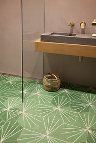 green tiled floor