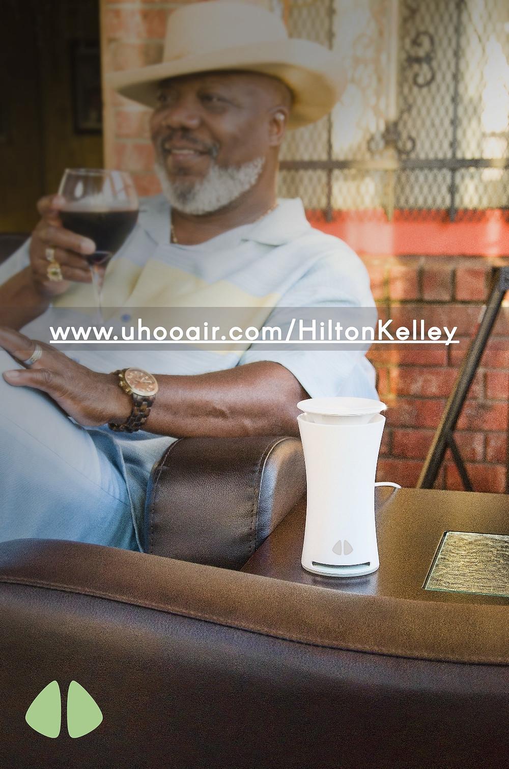 Hilton Kelley with the uHoo Air Toxin Sensor