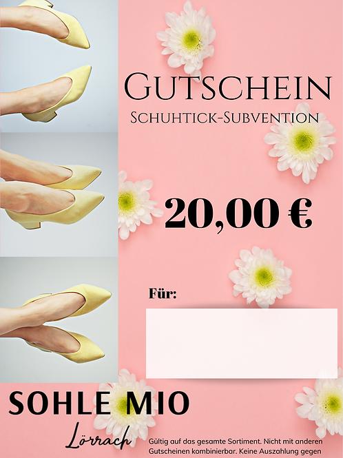 """20€ """"Schuhtick"""" Gutschein"""