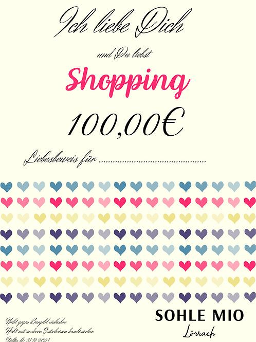 """100€ """"Liebesbeweis"""" Gutschein"""
