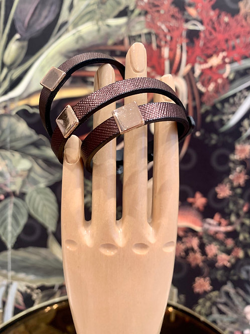 Lederarmband | brown gold