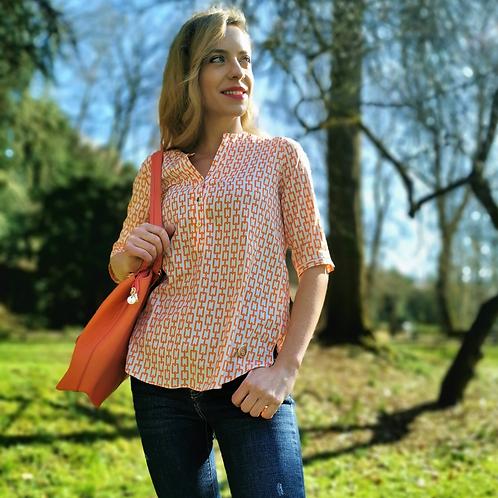 Casual Shirt   orange & white