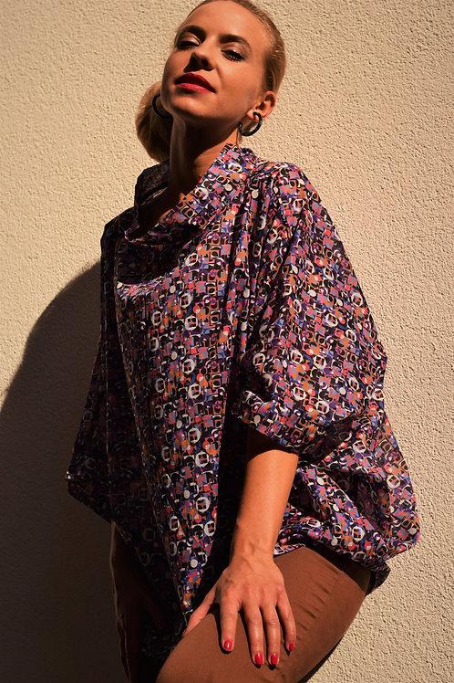 Collar Blouse Purple Mosaic