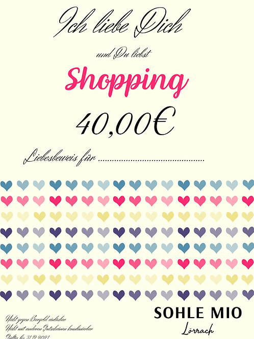"""40€ """"Liebesbeweis"""" Gutschein"""