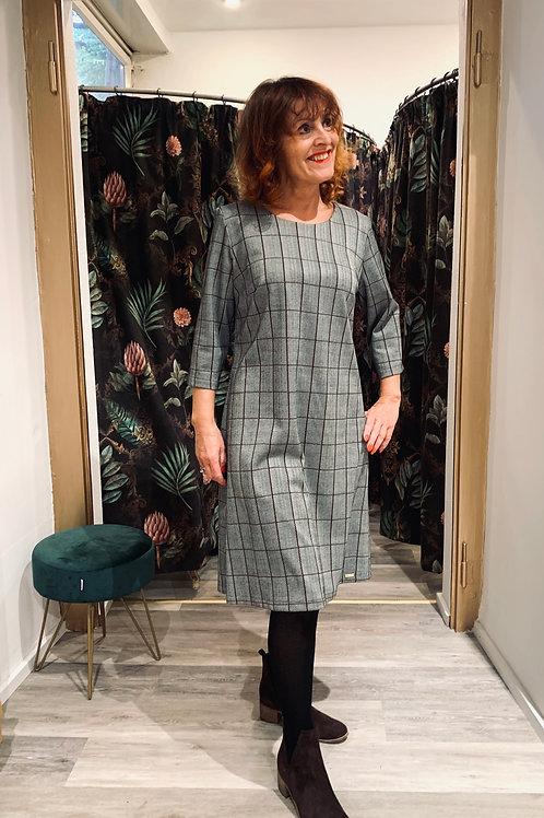 Ausgestelltes Kleid   grey herringbone