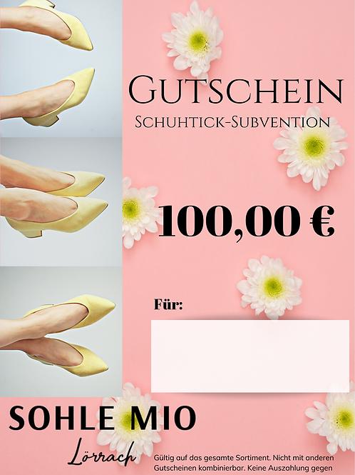 """100€ """"Schuhtick"""" Gutschein"""