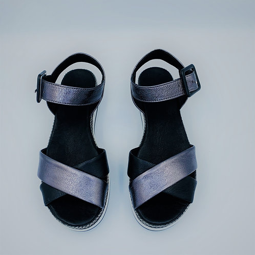 Keilsandale   black & metallic