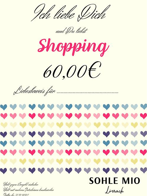 """60€ """"Liebesbeweis""""Gutschein"""