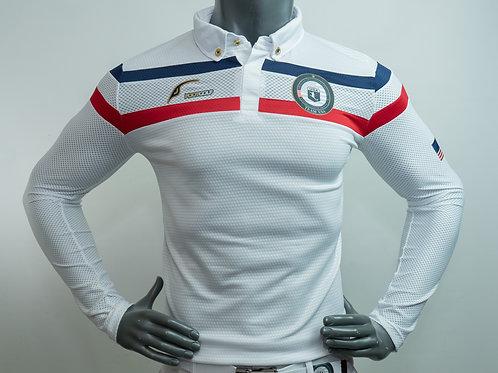 White Polo Long Sleeve Team USA