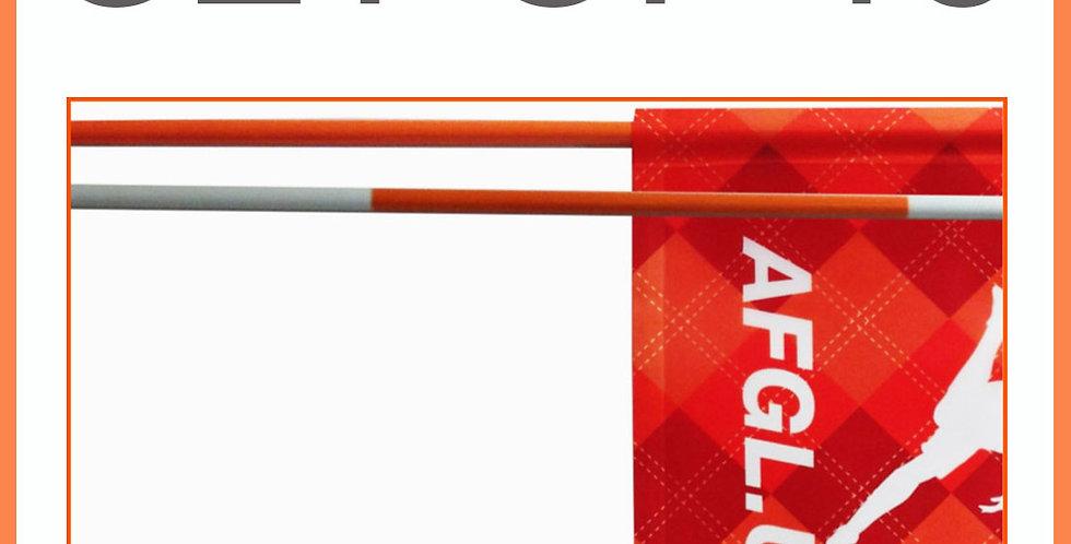 Set of 18 - 7.5' Flagsticks -  Orange and White Stripe