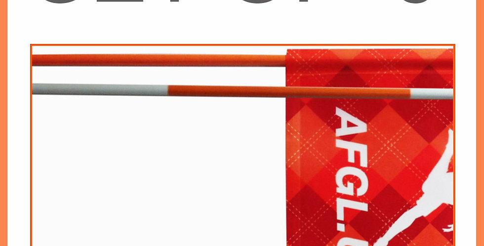 Set of 9 -  7.5' Flagsticks - Orange and White Stripe
