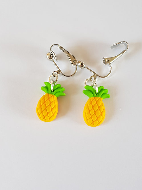 boucles d'oreilles ananas,bijoux ananas,clips ananas,cadeau ananas,fimorelie,cadeau anniversaire,cadeau noel,fait main