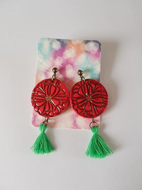 boucles d'oreilles fleurs,boucles d'oreilles ronde,rouge et vert,fait main