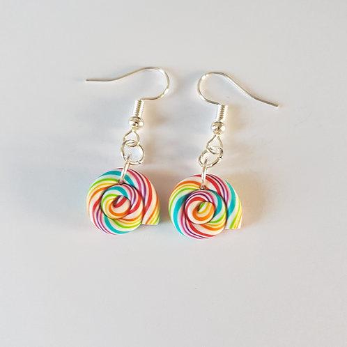boucles d'oreille lolipop,sucettes multicolores,boucles lolipops,coloré,fimo