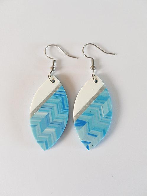 boucles d'oreilles acier inoxydable,boucles bleues,boucles originales,bleu,fimo