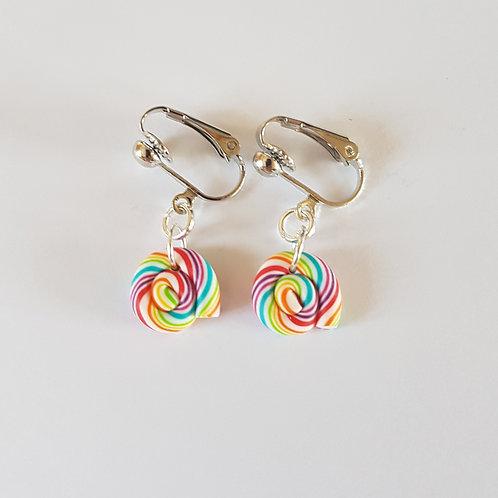 clips lolipop sucettes multicolore,boucles pour oreilles non percées fimo
