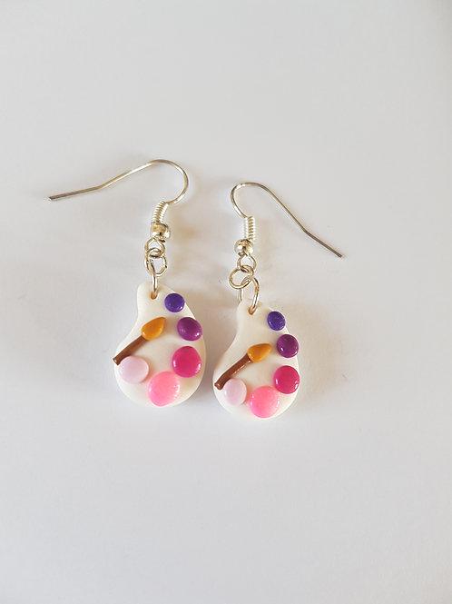 boucles d'oreilles peinture,palette de peinture,rose,violet,fimo