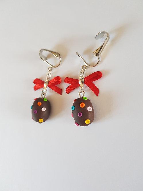 clips boucles d'oreilles paques, oeuf de paques,chocolat, multicolore