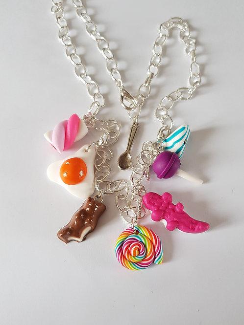 collier bonbons,collier gourmand,multicolore,fimo,bijou gourmand,fait main