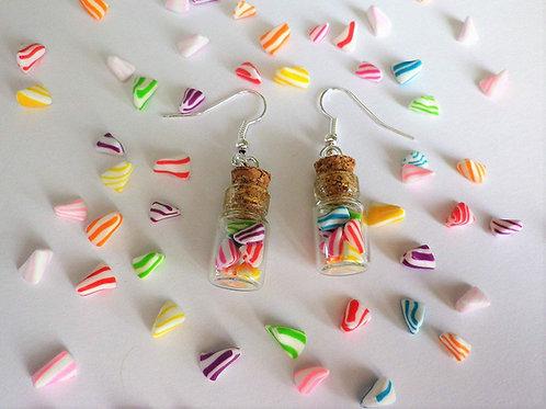 fioles bonbons, berlingots multicolores, boucles d'oreilles, bijou gourmand