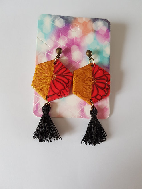 boucles d'oreilles fleurs,chic,rouge et noir,pampilles,modèle unique,fait main