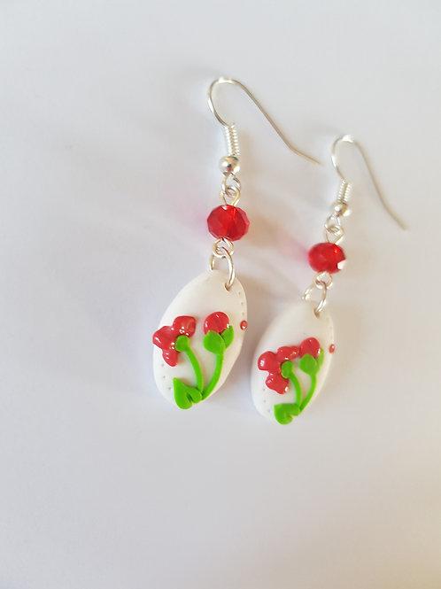 boucles d'oreilles fleurs, bijou fleurs,modèle unique,thème printemps,fleuriste