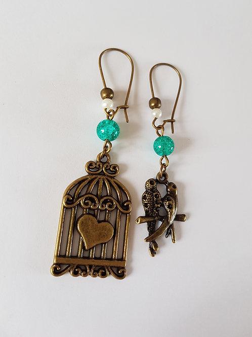 boucles d'oreilles vintage,boucles d'oreilles pendantes,dormeuses,oiseaux,boucles vintage,bleu et bronze,cage