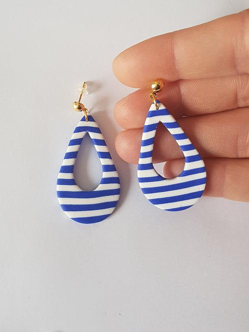 Boucles d'oreilles créoles gouttes marinières,puces,bijoux original,fait main,fimorelie,fimo rélie