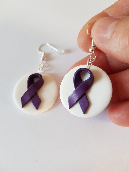 boucles d'oreilles ruban violet, anti violence domestique