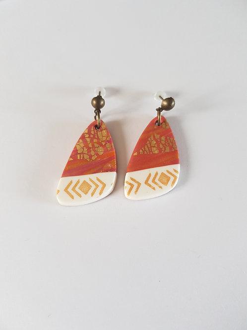 boucles d'oreilles originales,or,cuivre,bronze,feuille d'or,forme originale,fimo