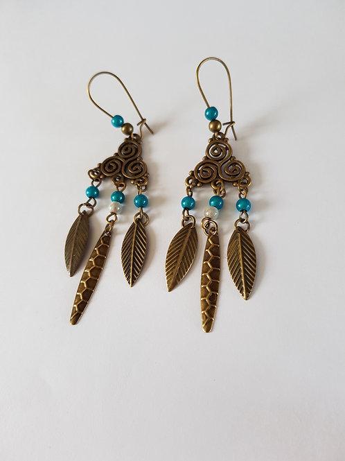 boucles d'oreilles pendantes,bronze et bleu,dormeuses,boucles originales,boucles vintage,cadeau anniversaire,chic,boho,bobo