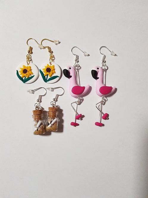 commande spéciale boucles d'oreilles tournesol,flamant,fiole