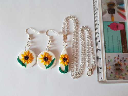 boucles d'oreilles tournesols, bijou fleurs, collier tournesol
