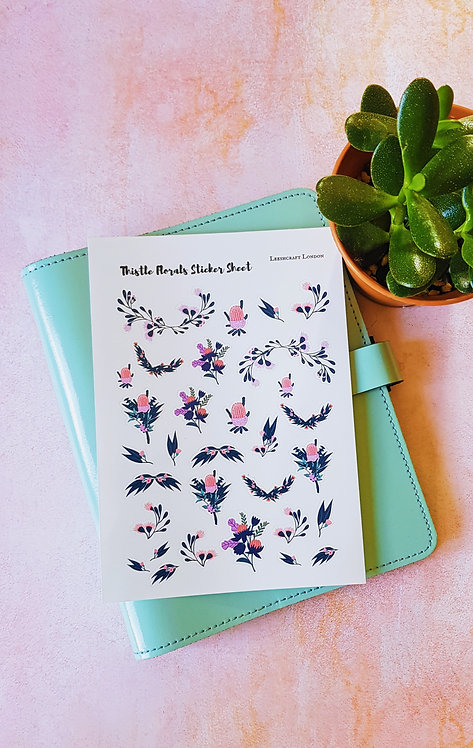 Thistle Floral Sticker Sheet