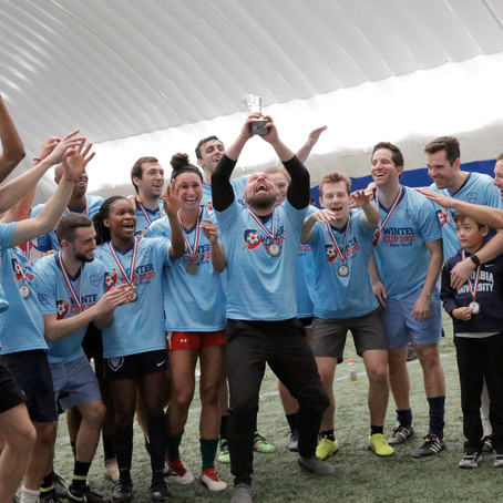Columbia's Alumni Soccer Team and Blackstone Take Home Top Trophies at Winter Cup 2020!
