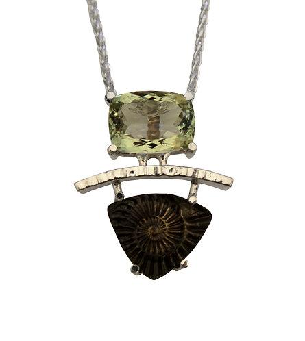 Green Amethyst Ammonite Necklace