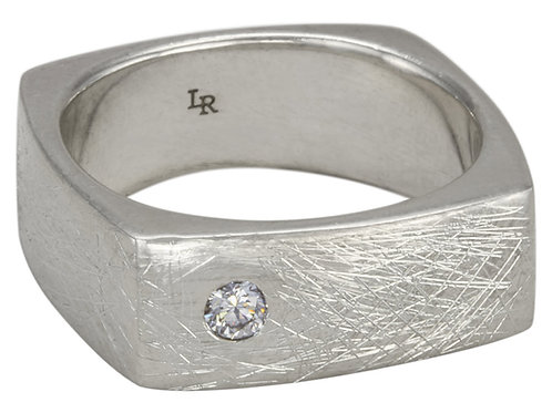 Diamond Sterling Silver Square Ring
