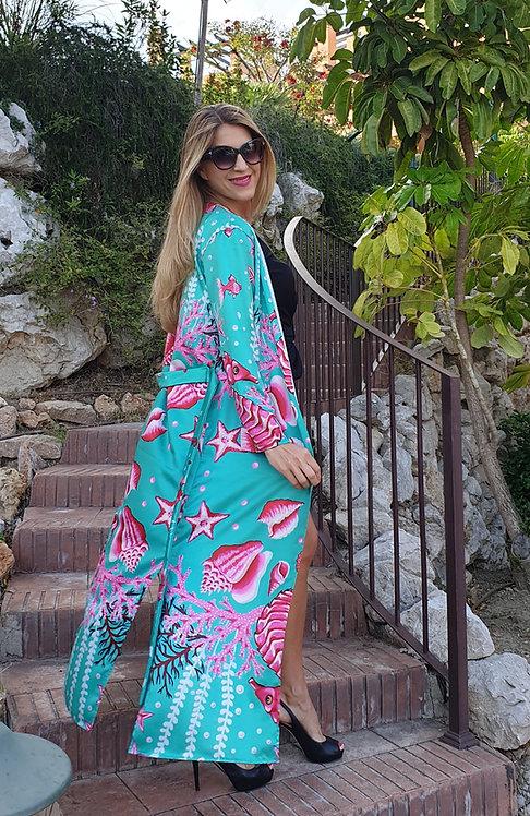 Pink Seahorse long kimono