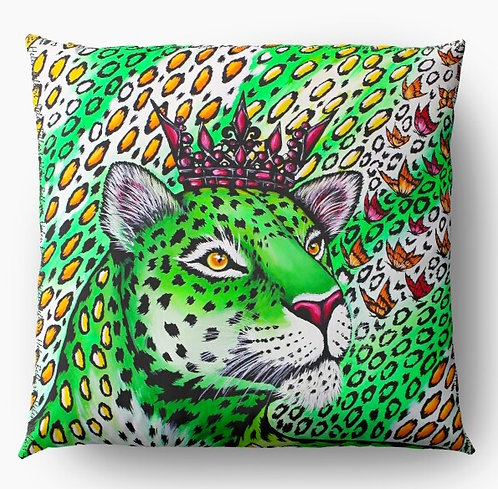 Neon Green Leopard decorative pillow cover
