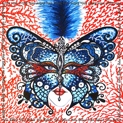 Coral Butterfly silk scarf 110x110 cm