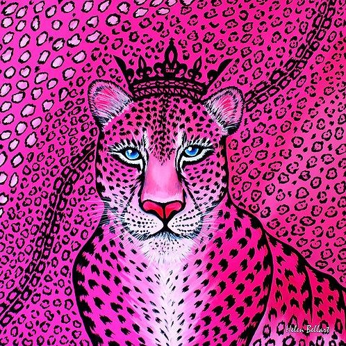 Pink Leopard silk scarf 110x110 cm