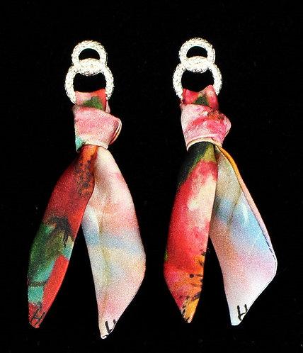 Blooming Cherry silk tie earring