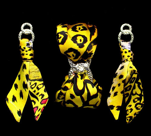 Yellow Leopard silk tie earring & bracelet set
