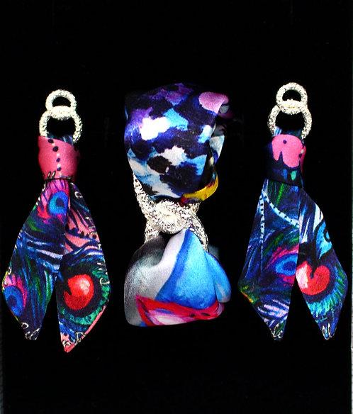Peacock Mask silk tie earring & bracelet set