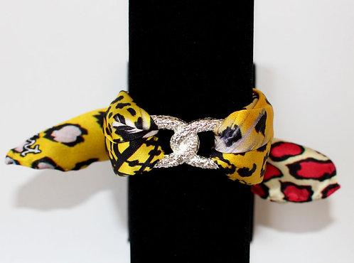 Yellow Leopard Infinity silk bracelet